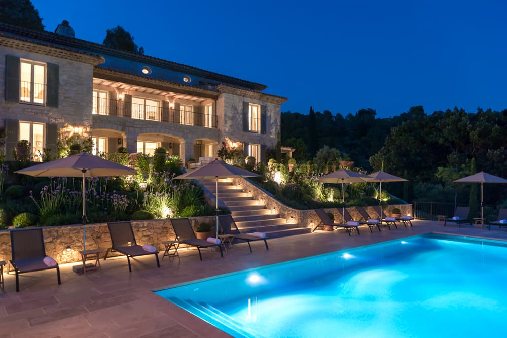 Provence holiday home with private pool at night