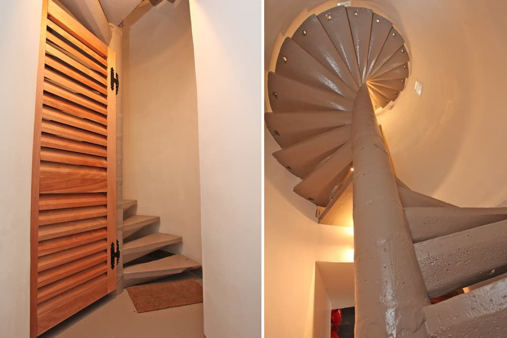 Spiral staircase in Normandy rental home