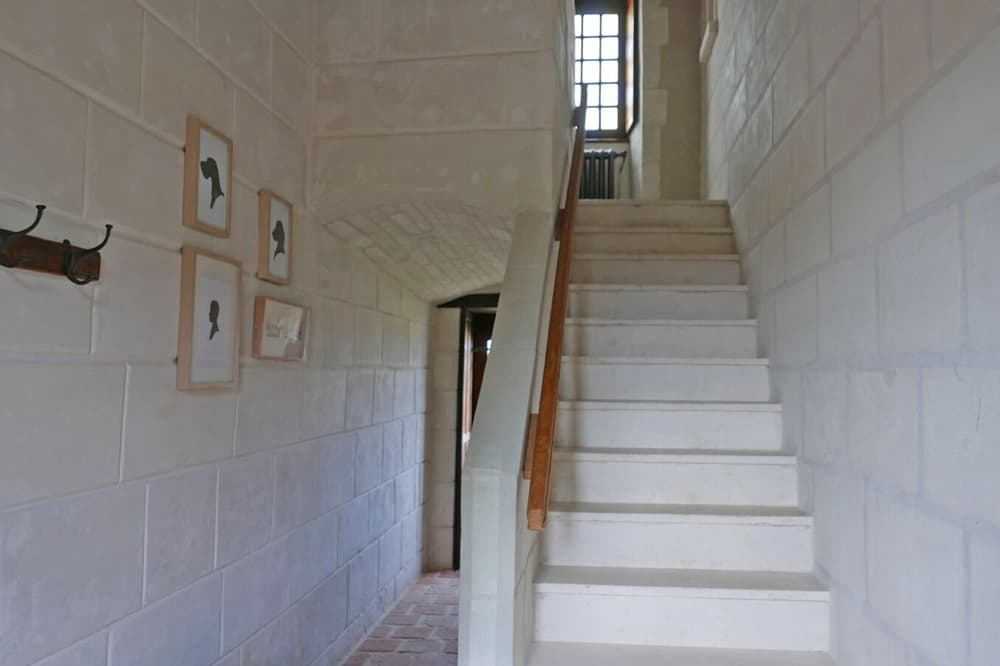 Stone staircase in Loire holiday château
